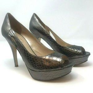 Marc Fisher Peeptoe Platform Snakeskin Print Heels